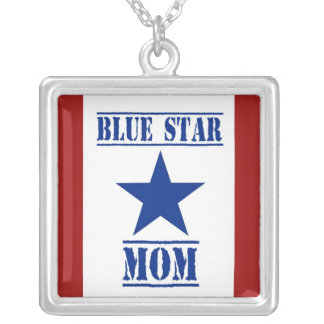 Blue Star Mom Military Silver Plated Necklace