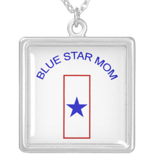 Blue Star Mom Silver Plated Necklace