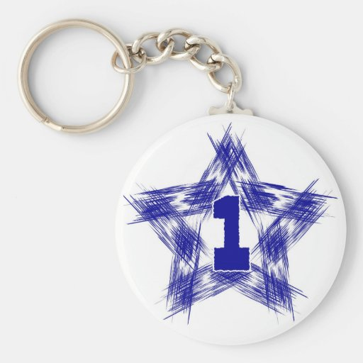 blue star number one key chain