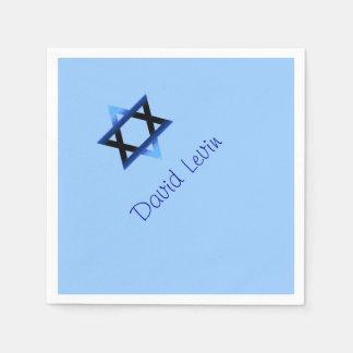 Blue Star of David Bar Mitzvah, Custom Disposable Serviette