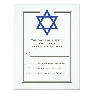 Blue Star of David Bar Mitzvah reply card 11 Cm X 14 Cm Invitation Card