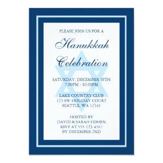 Blue Star Of David Hanukkah Holiday Party Card