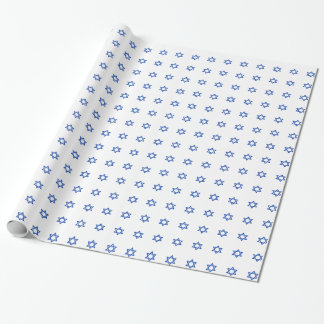 Blue Star of David on White Wrapping Paper