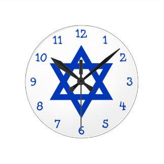 Blue Star of David Round Clock