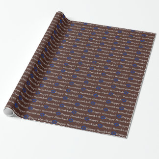 Blue Star of David, Silver Happy Hanukkah on Brown Wrapping Paper