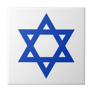 Blue Star of David Small Square Tile