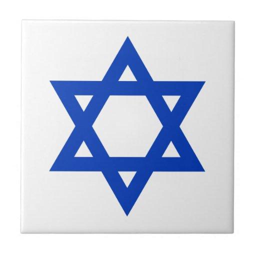 Blue Star of David Tiles