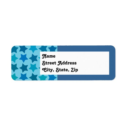 Blue Star Pattern Return Address Label