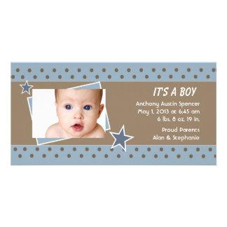 Blue Star Photo Birth Announcement Card