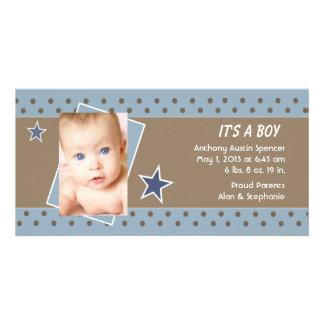 Blue Star Photo Birth Announcement Customized Photo Card