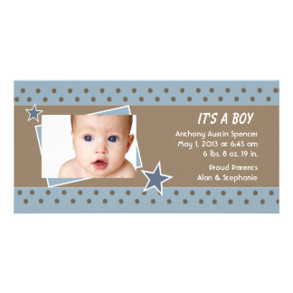 Blue Star Photo Birth Announcement Personalised Photo Card