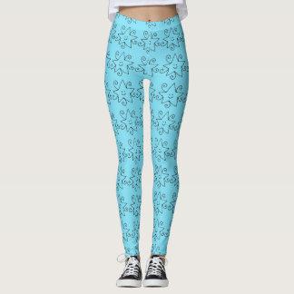 Blue star print leggings
