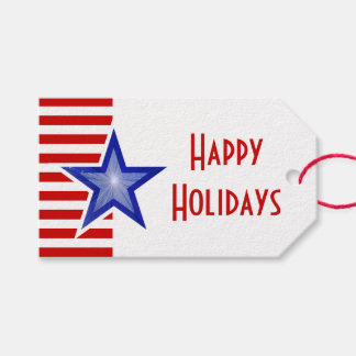 Blue Star Red Stripe print Happy Holidays text Gift Tags