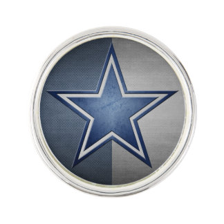Blue Star Round Lapel Pin, Silver Plated Lapel Pin