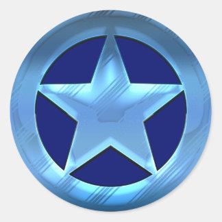 Blue Star Round Sticker