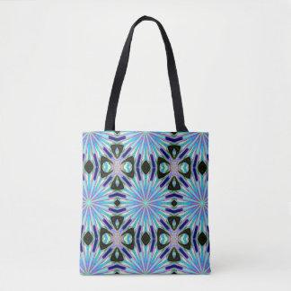 blue  starburst geometric  pattern tote bag