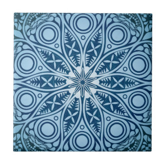 Blue Starburst Graphic Design Small Square Tile