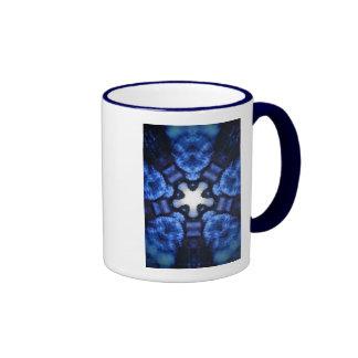Blue Starburst Hippie Kaliedoscope Design Coffee Mug