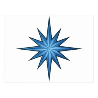 Blue Starburst Icon Postcard