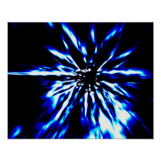 Blue starburst on black poster