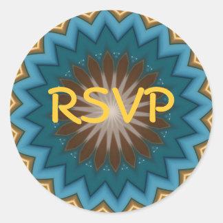 Blue Starburst RSVP Round Sticker