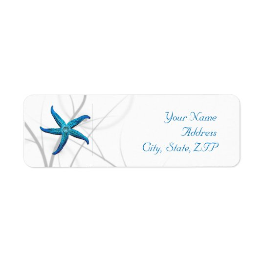 Blue Starfish and Silver Coral Return Address
