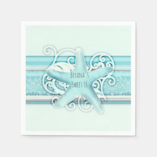Blue Starfish Beach Wedding Reception Party Paper Napkin