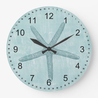 Blue Starfish Large Clock