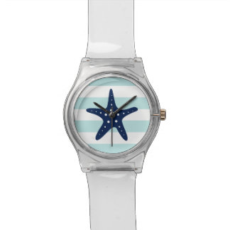 Blue Starfish on Mint and White Nautical Stripes Watch