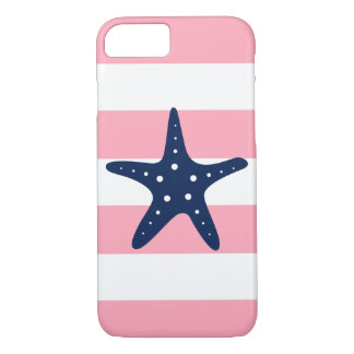 Blue Starfish on Pink Stripes iPhone 8/7 Case