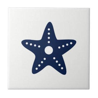 Blue Starfish on White Ceramic Tile