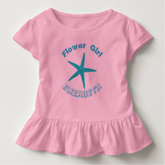 Blue Starfish Pink Beach Wedding Flower Girl T-shirts