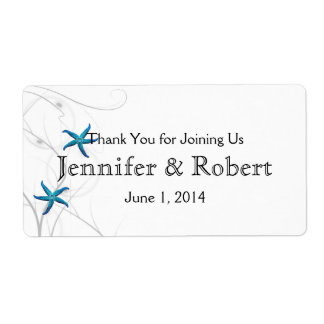 Blue Starfish Silver Wedding Water Bottle Label Shipping Label