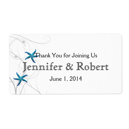 Blue Starfish Silver Wedding Water Bottle Label Shipping