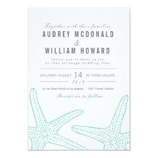 Blue Starfish Wedding Invite - Tiffany Blue