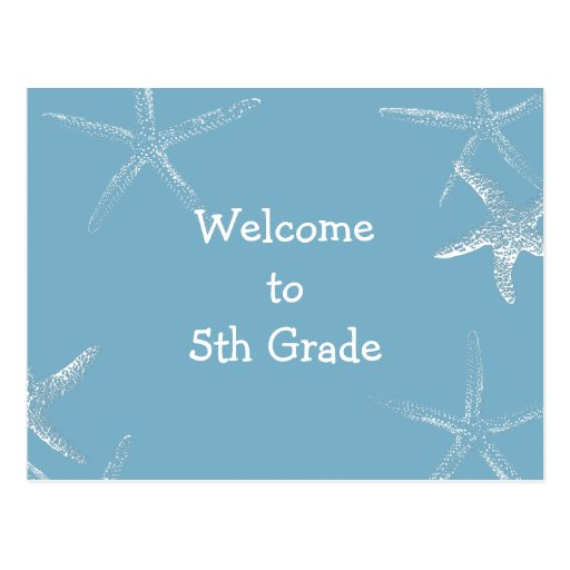 Blue Starfish Welcome to Class Postcard