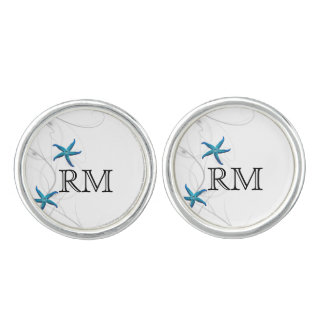 Blue Starfish with Silver Coral Wedding Cuff Links