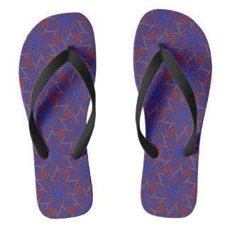 Blue starflowers on red flip flops