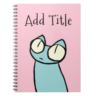 Blue Staring Cats Pink Spiral Note Books