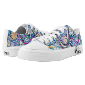 Blue starry abstract design tennis shoes.  unisex. low tops