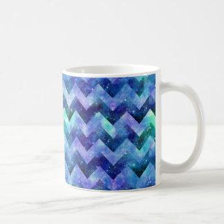 Blue Starry Galaxy Watercolor Chevron Basic White Mug