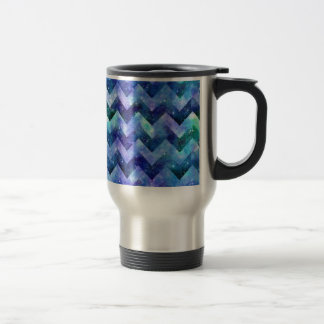 Blue Starry Galaxy Watercolor Chevron Stainless Steel Travel Mug