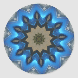 Blue Starry Kaleidoscope Classic Round Sticker