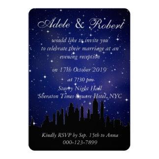 Blue Starry Night NYC Skyline Wedding Reception 13 Cm X 18 Cm Invitation Card