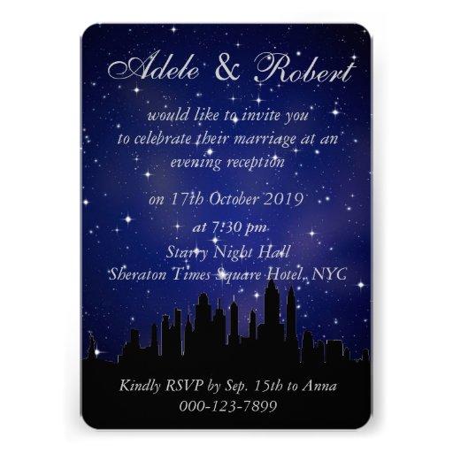 Blue Starry Night NYC Skyline Wedding Reception Announcements