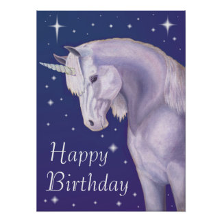Blue Starry Unicorn Happy Birthday Poster