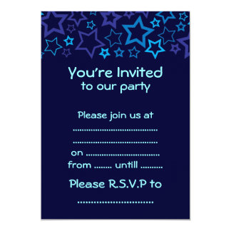 Blue Stars 13 Cm X 18 Cm Invitation Card