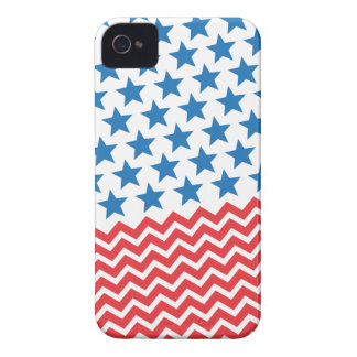 Blue stars and red white chevron zigzag stripes iPhone 4 Case-Mate cases