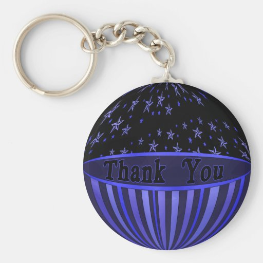 Blue Stars and Stripes Thank You Keychain