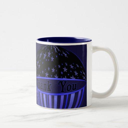 Blue Stars and Stripes Thank You Coffee Mug